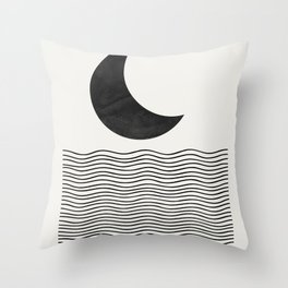 Modern Night, Moon by the Waves Throw Pillow