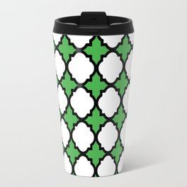 Kelly Green Quatrefoil Travel Mug