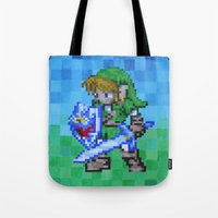 8bit Tote Bags featuring 8bit Link by Cariann Dominguez