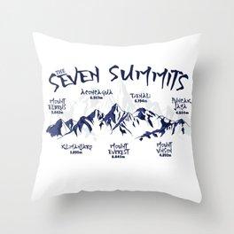 The Seven Summits Mountain Climbing Throw Pillow