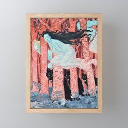 Eugene Grasset - Three women and three wolves - Digital Remastered Edition Framed Mini Art Print