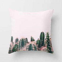 Pink Blush Cactus Throw Pillow