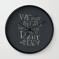 "dumbledore Wall Clocks featuring Harry Potter - Albus Dumbledore quote ""We must all face the choice..."" by SimpleSerene"