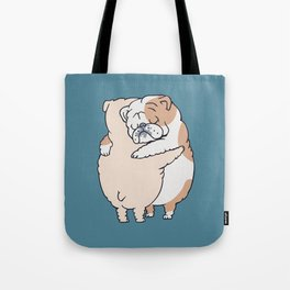 English Bulldog Hugs Tote Bag