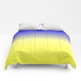Sky and Sun -- Blue yellow ombre flames Comforters
