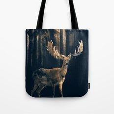 Deer in the dark forest Tote Bag