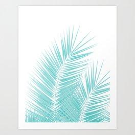 Soft Turquoise Palm Leaves Dream - Cali Summer Vibes #1 #tropical #decor #art #society6 Art Print