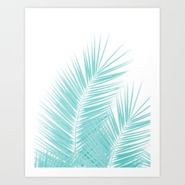 Soft Turquoise Palm Leaves Dream - Cali Summer Vibes #1 #tropical #decor #art #society6 Kunstdrucke