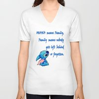 ohana V-neck T-shirts featuring Lilo & Stitch - Ohana Quote by MarcoMellark