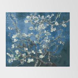 Van Gogh Almond Blossoms : Ocean Blue Throw Blanket