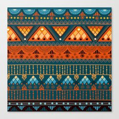 Orange & Blue Boho Pattern Canvas Print