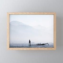 Fisherman in Myanmar Framed Mini Art Print