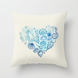 Heart of the shells. Hand drawn illustration Throw Pillow