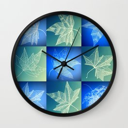 leaf collage in blue Wall Clock