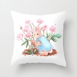 Peony Bunny Throw Pillow