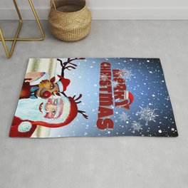 Santa Claus and Rudolf the Rednose reindeer Rug