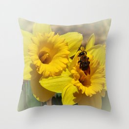 Daffodils and the Bee Throw Pillow