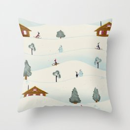 Retro winter scenery Throw Pillow