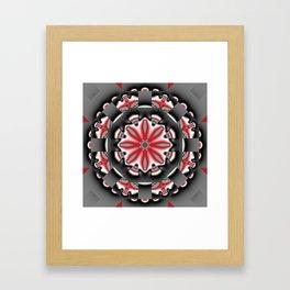 Floral pattern mandala in red, black and grey tones Framed Art Print