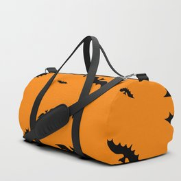 Flying black bats on an orange background in Halloween style Duffle Bag