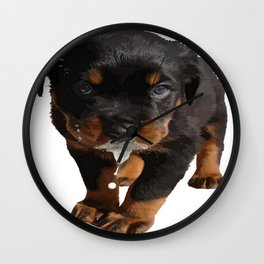 Cute Rottweiler Puppy Lapping Milk Vector Wall Clock