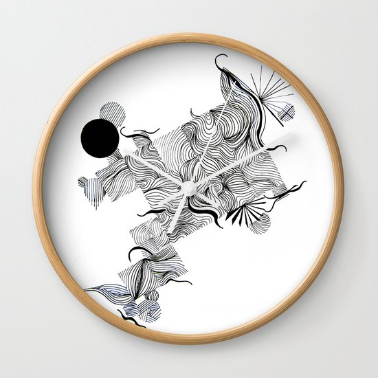 Line Drawing Clock : Abstract line drawing wall clock by treelovergirl society