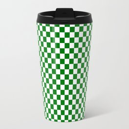 Christmas Green and White Checker Board Pattern Travel Mug
