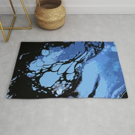 Blues and Black ; Fluid Abstract 49 Rug