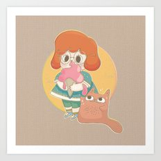 Katzenmann And Me Art Print
