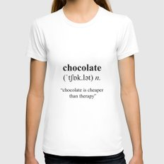 Chocolate X-LARGE White Womens Fitted Tee
