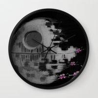 death star Wall Clocks featuring Death Star by Berta Merlotte
