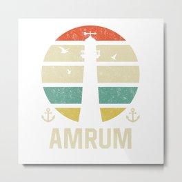 Amrum Beacon Vacation TShirt North Sea Shirt Nordsee Gift Idea  Metal Print