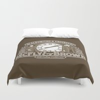 marty mcfly Duvet Covers featuring McFly & Brown Blacksmiths by Doodle Dojo