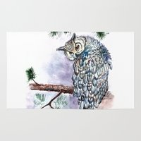 daria Area & Throw Rugs featuring Aquarelle owl by Daria Kotyk