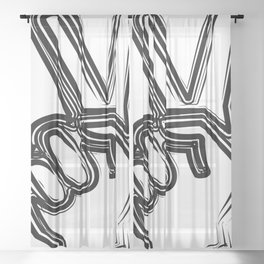 Sketched victory Sheer Curtain