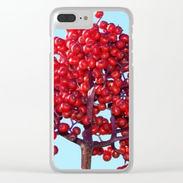 Rowan Berry Branch Top is Red on  Blue Nature Clear iPhone Case