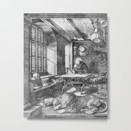 Saint Jerome in His Study by Albrecht Dürer Metal Print