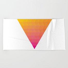 Orange Magenta Triangle Gradient Beach Towel
