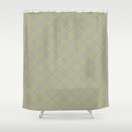 Simply Mod Diamond Mod Yellow on Retro Gray Shower Curtain