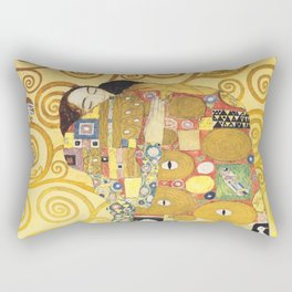 Gustav Klimt - The Embrace - Die Umarmung - Vienna Secession Painting Rectangular Pillow