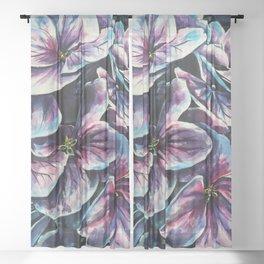 purple flowers watercolor art Sheer Curtain