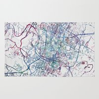 austin Area & Throw Rugs featuring Austin map by MapMapMaps.Watercolors