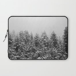 Black and White Snowy Pine trees Laptop Sleeve