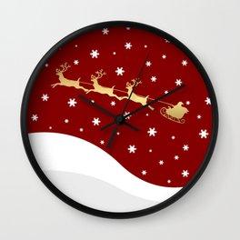 Red Christmas Santa Claus Wall Clock