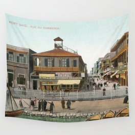 Vintage Egypt, port Said Commerce Street Wall Tapestry