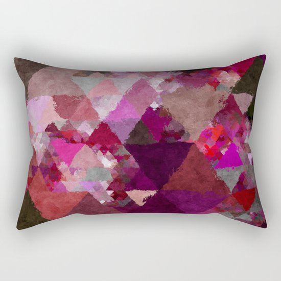 When the night comes- Dark red purple triangle pattern- Watercolor Illustration Rectangular Pillow