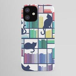 Rainbow bookshelf // white background navy blue shelf and library cats iPhone Case