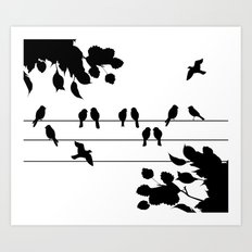 Peagons on wire  Art Print