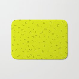Digital Geometric Pattern Art Yellow Bath Mat