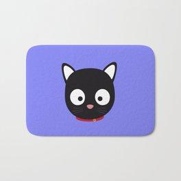 Cute black cat with red collar Bath Mat